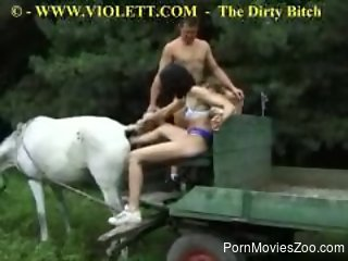 Fisting horse asshole while sucking her BF's cock