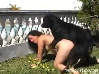 Horny curly-haired beauty ass-fucked by a kinky dog
