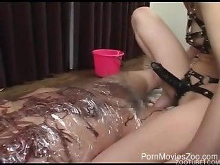 Horny Asian girl enjoying her wormy experience