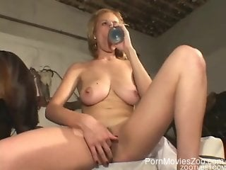 Busty blonde gets fucked by a stallion (kinda)