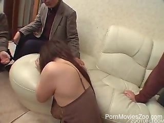 Busty Japanese chick fucks a dog in a weird scene