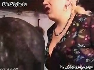 Fishnets-wearing sexy mommy getting fucked by a stallion