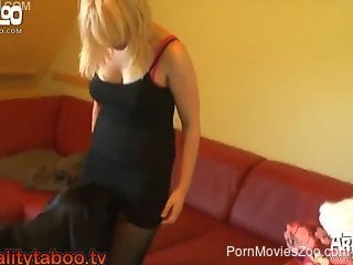 Sexy blonde enjoying hardcore sex with a kinky dog
